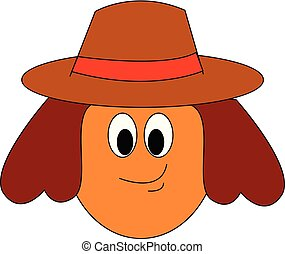 kolor, ilustracja, wektor, dziewczyna, kapelusz, albo