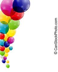 kolor, ilustracja, wektor, połyskujący, tło, balony