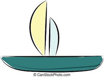 kolor, ilustracja, wektor, wędkarski, albo, łódka