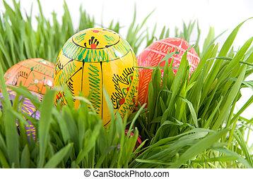 kolor, jaja, zieleń biała, trawa, wielkanoc, gniazdo