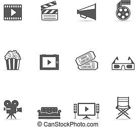 kolor, kino, jednorazowy, -, ikony