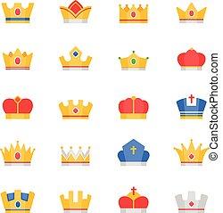 kolor, komplet, korona, wektor, ikony