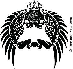 kolor, korona, skrzydełka, czaszka, jeden