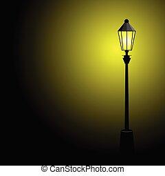 kolor, lampa, ulica, wektor