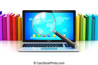 kolor, laptop, szkło, książki, przód, powiększający, hałas
