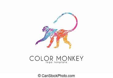 kolor, logotype., logo., małpa, twórczy