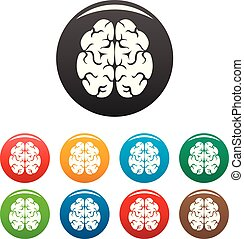 kolor, mózg, komplet, ikony