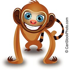 kolor, małpa, ilustracja