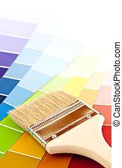 kolor, malować, bilety, szczotka