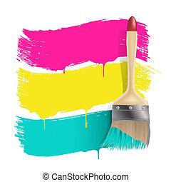 kolor, malować, chorągwie, szczotka