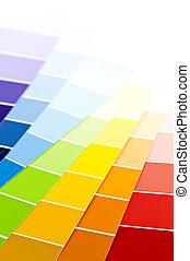 kolor, malować, karta, próbki