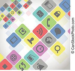 kolor, media, nowoczesny, kwadraty, ikony