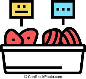 kolor, mięso, ikona, wektor, kontener, ilustracja, fish, tuńczyk