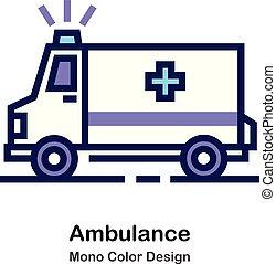 kolor, mono, ambulans, ikona