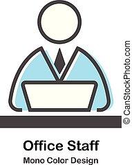 kolor, mono, biuro, ilustracja, personel