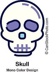 kolor, mono, czaszka, ikona