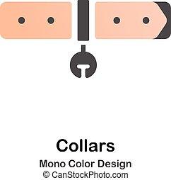 kolor, mono, kołnierze, ikona