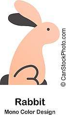 kolor, mono, królik, ikona