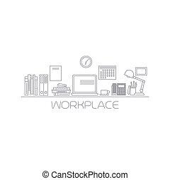 kolor, mono, kreska, miejsce pracy, ilustracja