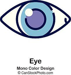 kolor, mono, oko, ikona