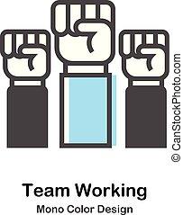 kolor, mono, pracujący, ilustracja, drużyna