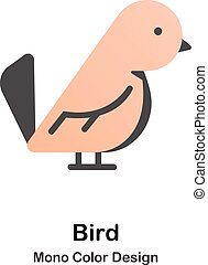 kolor, mono, ptak, ikona
