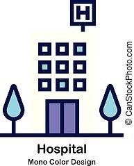 kolor, mono, szpital, ikona