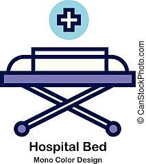 kolor, mono, szpitalniane łóżko, ikona