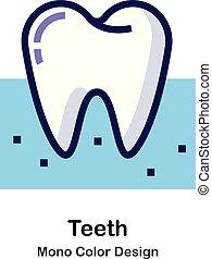 kolor, mono, zęby, ikona