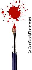 kolor, namalujcie bryzg, szczotka, czerwony
