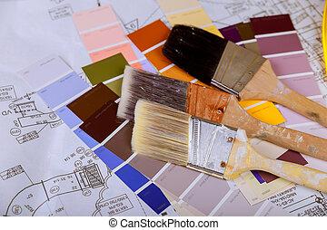 kolor, namalujcie szczotkę, karta, próbki
