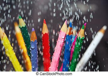 kolor, ołówki, deszcz, pod