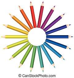kolor, ołówki, koło, miłośnik, barwny