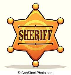 kolor, odznaka, wektor, projektować, szeryf
