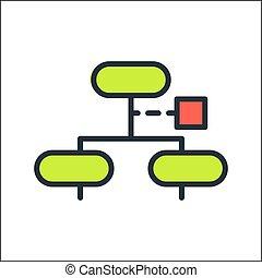 kolor, organizacja, wykres, ikona