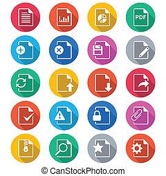 kolor, płaski, dokument, ikony
