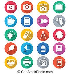 kolor, płaski, fotografia, ikony