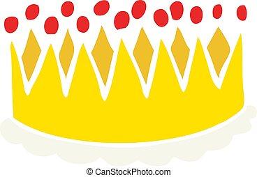 kolor, płaski, korona, rysunek, ilustracja