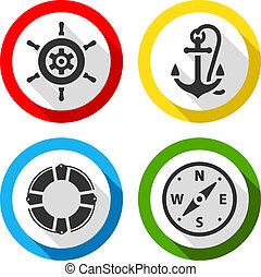 kolor, płaski, podróż, komplet, ikony
