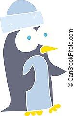 kolor, płaski, rysunek, ilustracja, pingwin