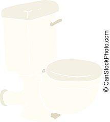 kolor, płaski, rysunek, ilustracja, toaleta