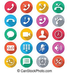 kolor, płaski, telefon, ikony