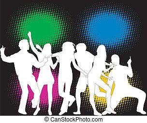 kolor, partia, -, ludzie tła