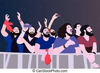 kolor, partying, ilustracja, ludzie