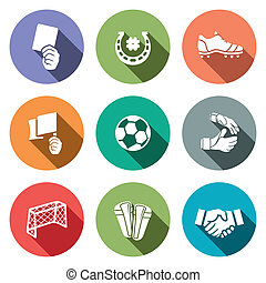 kolor, piłka nożna, wektor, zbiór, ikona
