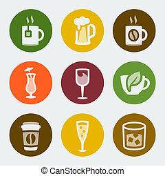 kolor, pije, wektor, komplet, ikony