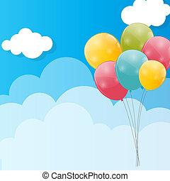 kolor, połyskujący, balony, przeciw, blu, niebo, tło,...