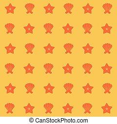 kolor, próbka, żółty, rozgwiazda, powłoki