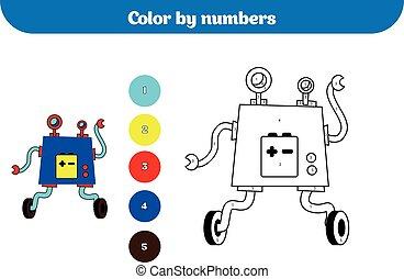 kolor, przez, liczba, wykształcenie, gra, dla, children., kolorowanie, strona, rysunek, dzieciaki, activity., robot