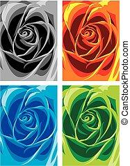 kolor, róża, abstrakcyjny, tło